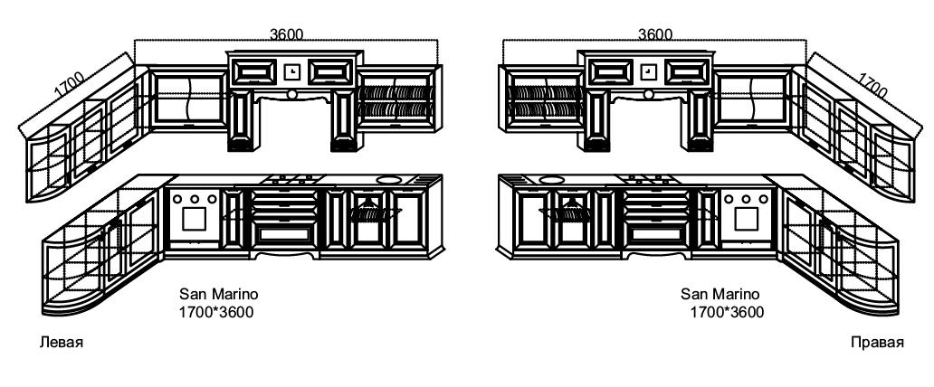 Кухни Сан-Марино 1700x3600 схема