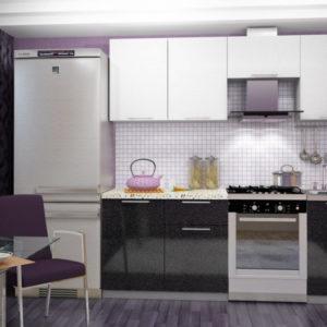 «София Черно Белая» Гарнитур для кухни, длина 210 см