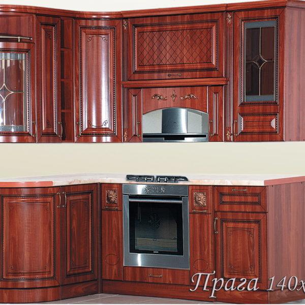 "Кухня ""Прага"" 140х205 угловая (Белый Ясень/Орех)"
