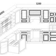 "Кухня ""Прага"" 200х320 (Белый Ясень/Орех)"