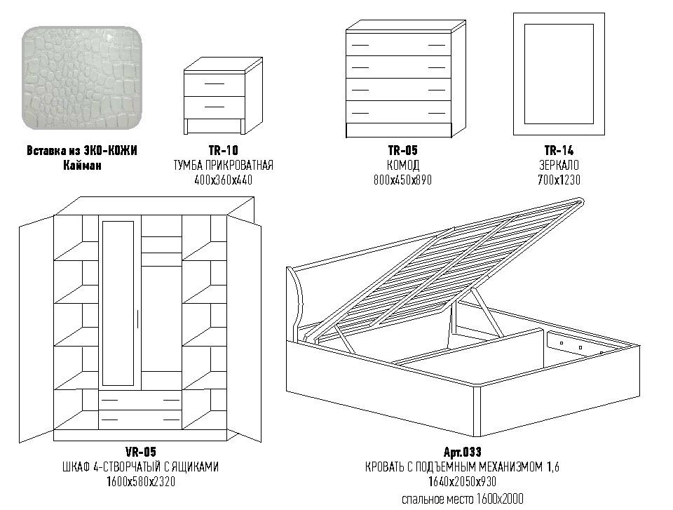 модульная спальня кэт размеры глория мебель