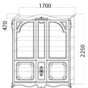 Посудный шкаф «Глория» размер