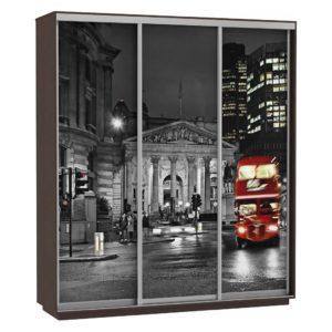 Шкаф купе 3-х дверный Фото Хит ночной лондон венге
