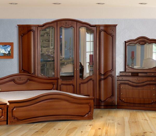 Спальня «Анастасия» 5-ти дв. ПВХ крашеный Орех
