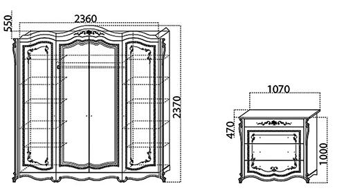 Спальня «Эмилия» шкаф тумбочка