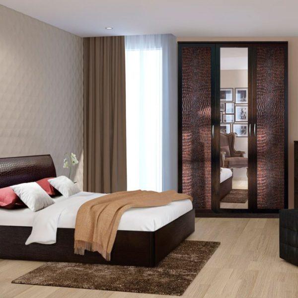 Спальня КЭТ коричневая кожа