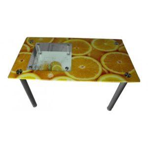 Стол обеденный со стеклом А32 апельсин