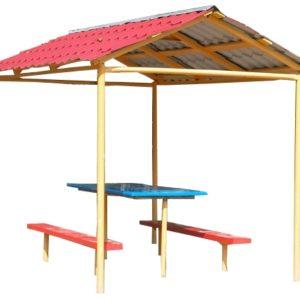 Беседка со столиком и двумя скамейками