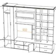 Мебель для гостиной Глория-5 размер