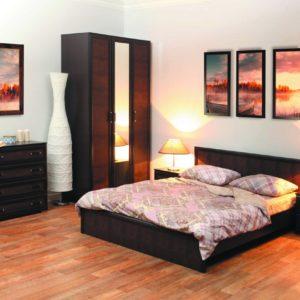 Спальня Волжанка коричневая с 3ств. шкафом