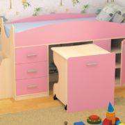 Кровать детская Гуфи розовая