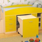 Кровать детская Гуфи желтая