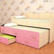 Кровать детская двухместная Нимфа розовая