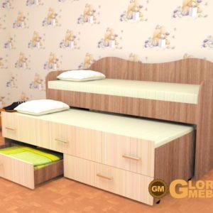 Кровать детская двухместная Нимфа ясень