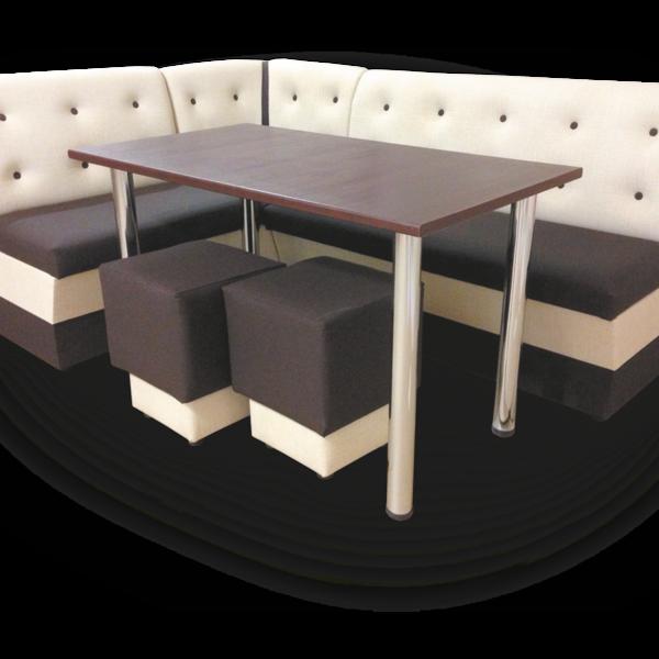 Кухонный уголок София со столом и пуфами