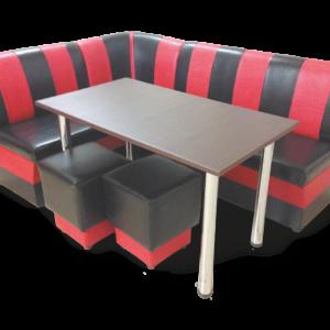 Мягкий кухонный уголок Алекс стол и пуфы