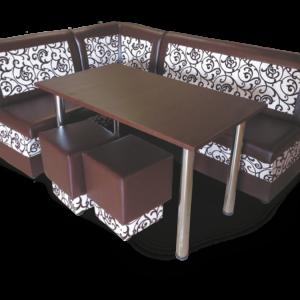 Мягкий кухонный уголок Лотос стол пуфы