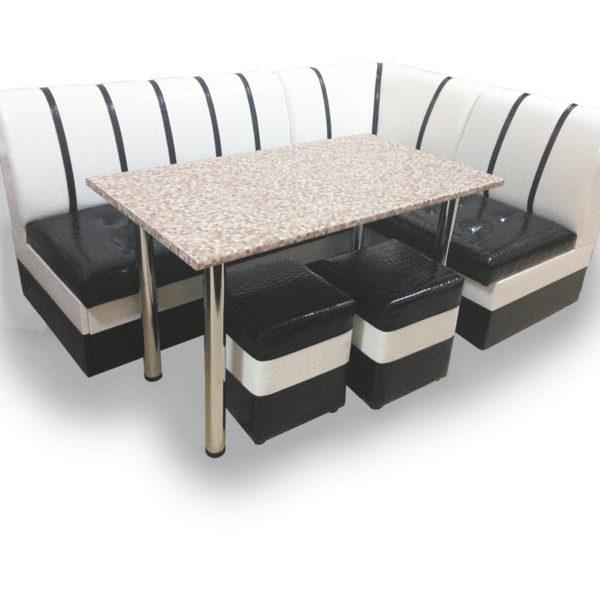 Кухонный Уголок Уют со спальным местом стол и пуфы