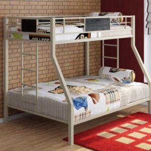 Металлическая детская двухъярусная кровать ГРАНАДА белая