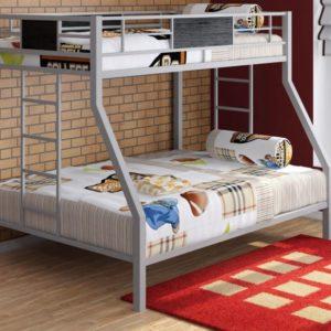 Металлическая детская двухъярусная кровать ГРАНАДА серебро