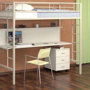 Металлическая кровать-чердак с письменным столом Севилья 1 белая