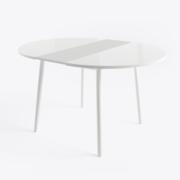 Стол круглый со стеклом РАУНД Белый (разложенный)