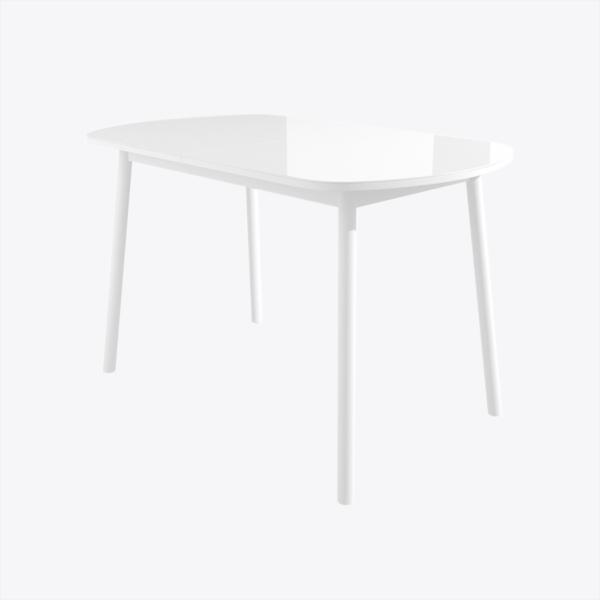 Стол раздвижной со стеклом РАУНД Белый