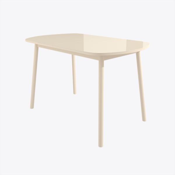 Стол раздвижной со стеклом РАУНД Кремовый