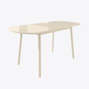Стол раздвижной со стеклом РАУНД Кремовый (разложенный)