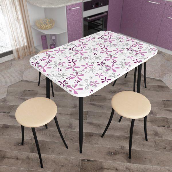Стол обеденный Флора с Черный опорой