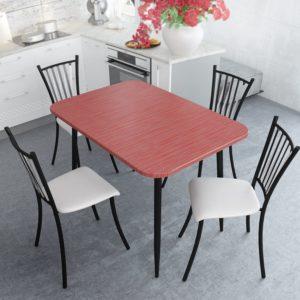 Стол обеденный Титан Красный с Черной опорой