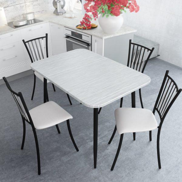 Стол обеденный Титан Серый с Черной опорой
