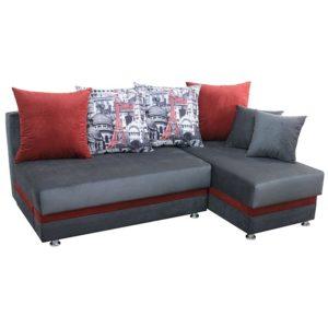 Дельта диван-кровать угловой (Arhitecture Red-Grey + Kollibri Grey)