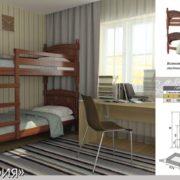 Детская кровать Валерия (орех) схема