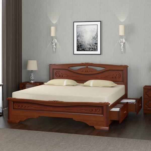Кровать Елена-3 орех с ящиками