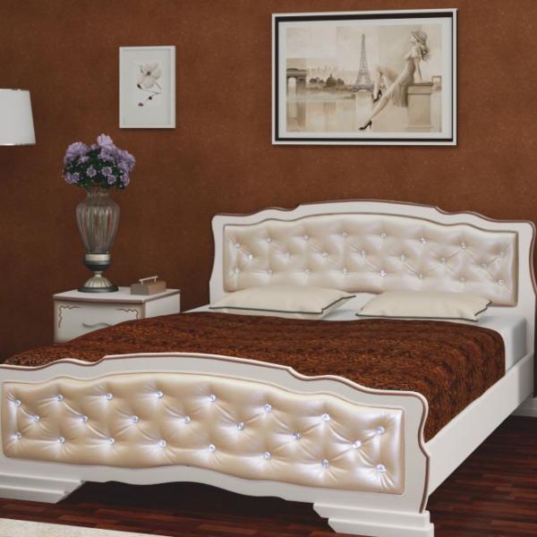 Кровать Карина-10 дуб молочный, светлая кожа