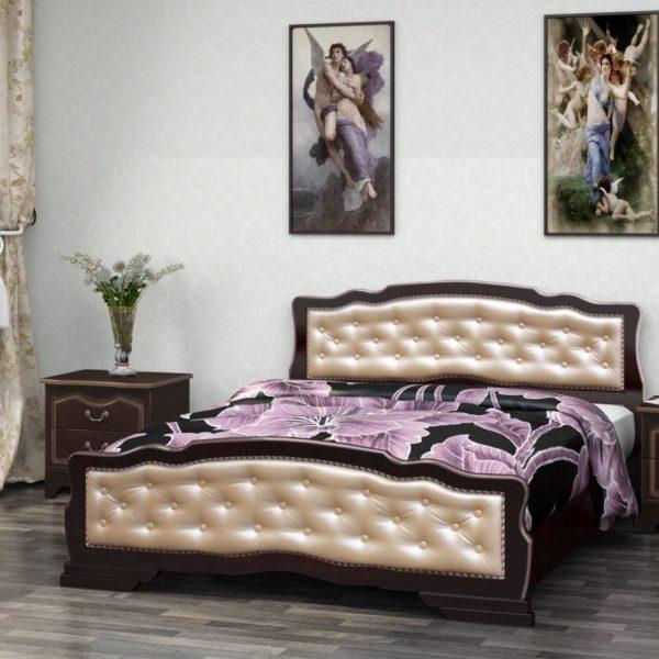 Кровать Карина-10 орех темный, светлая кожа