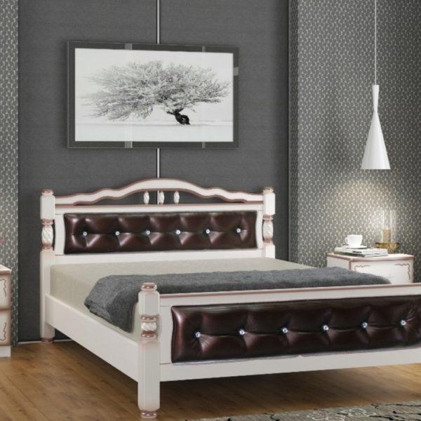 Кровать Карина-11 дуб молочный, темная кожа