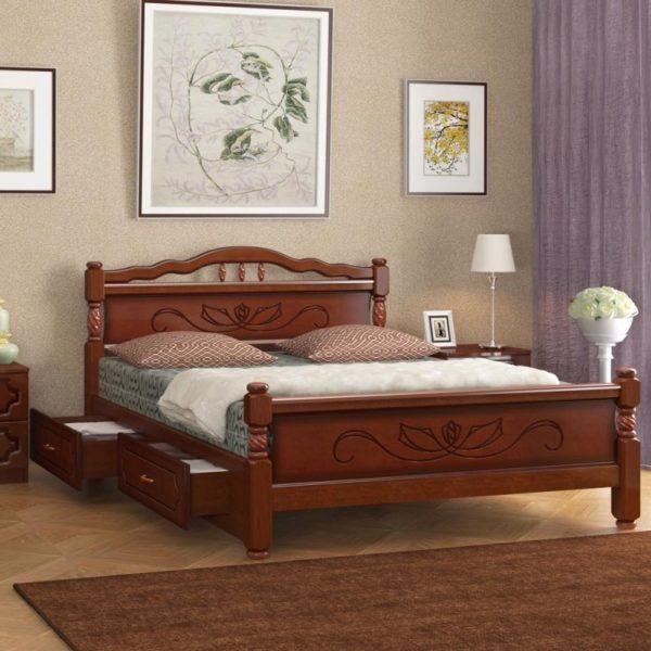 Кровать Карина-5 орех с ящиками