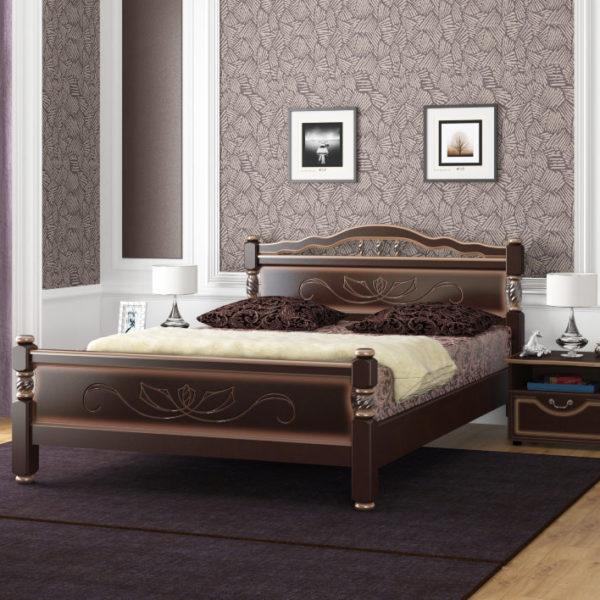 Кровать Карина-5 темный орех
