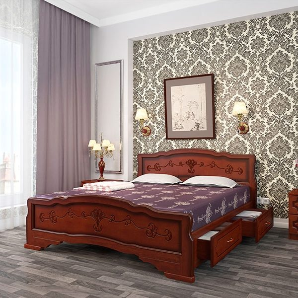 Кровать Карина-6 орех с ящиками