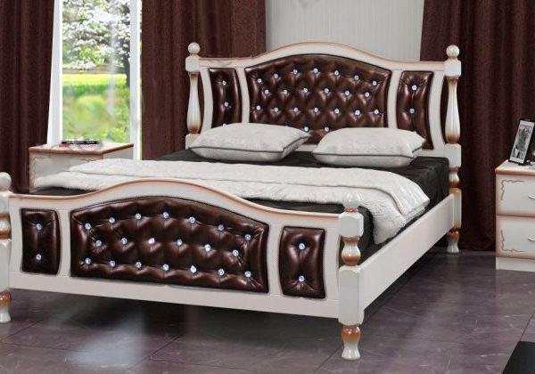 Кровать Жасмин дуб молочный, темная экокожа