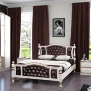 Кровать Жасмин дуб молочный, темная экокожа. Спальня Виктория