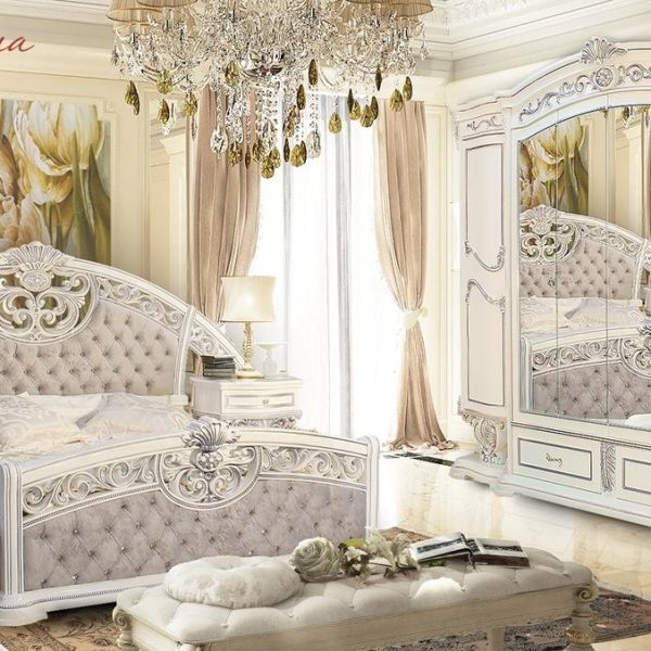 Спальня Марелла (белый,серебро,велюр)