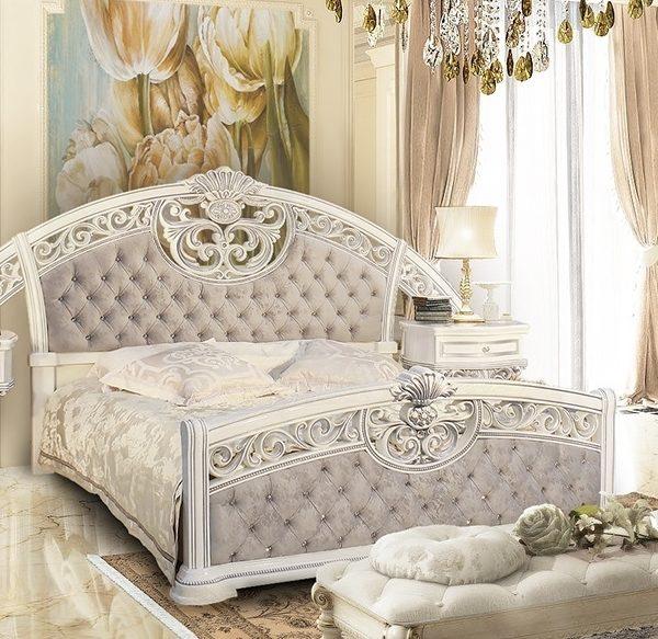 Спальня Марелла (белый,серебро,велюр) кровать
