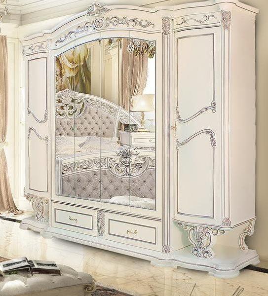 Спальня Марелла (белый,серебро,велюр) шкаф