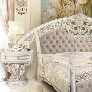 Спальня Марелла (белый,серебро,велюр) тумбочка