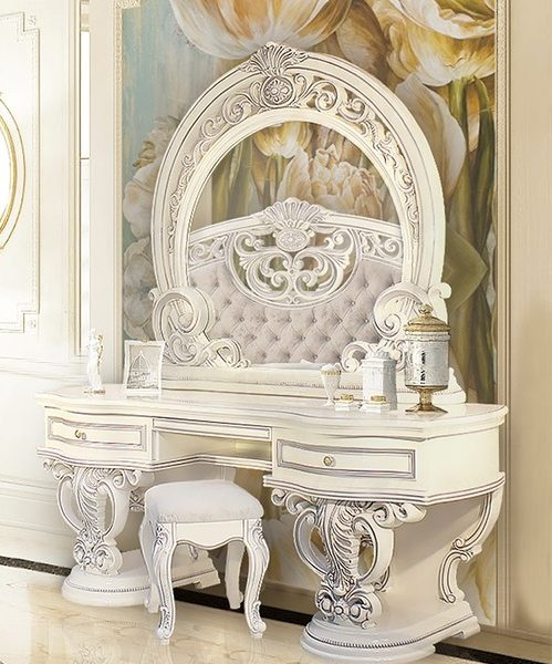 Спальня Марелла(белый,серебро,велюр) туалетный стол