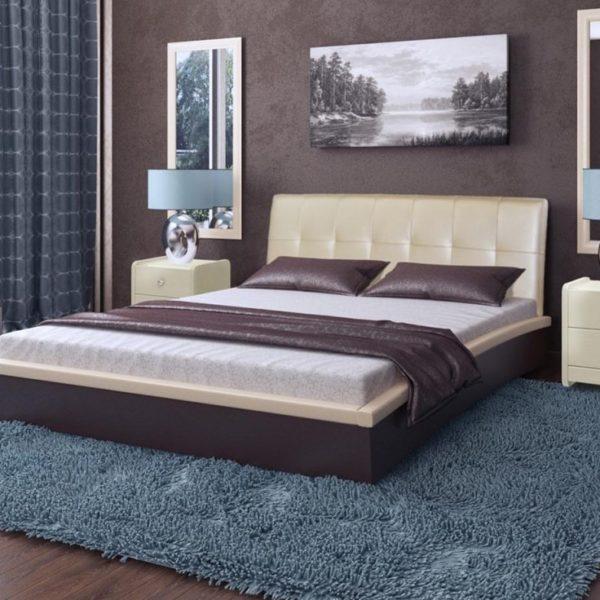 Кровать Севилья с мягким изголовьем беж