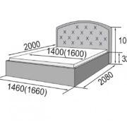 Кровать с мягким изголовьем Рондо размеры